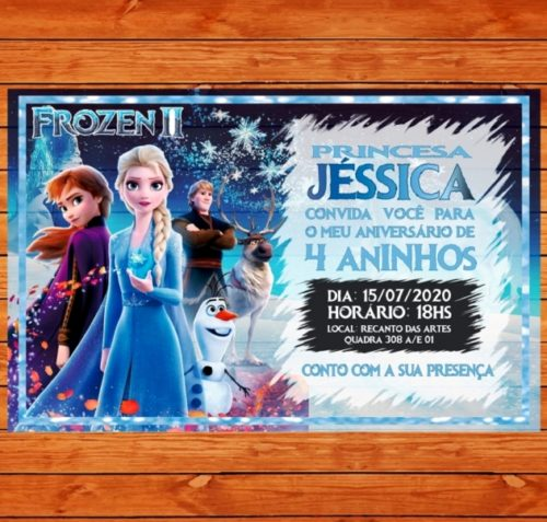 convite frozen 2 aniversario infantil em alta qualidade 9x14cm papel fotográfico 1